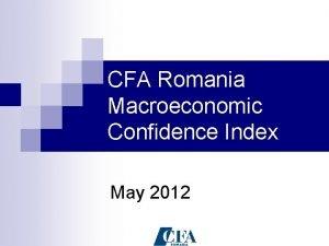 CFA Romania Macroeconomic Confidence Index May 2012 CFA
