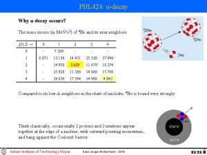 PHL 424 decay Why decay occurs The mass