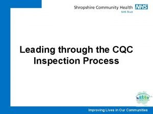 Leading through the CQC Inspection Process Improving Lives