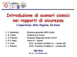 Introduzione di scenari sismici nei rapporti di sicurezza