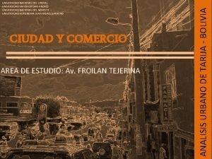 CIUDAD Y COMERCIO AREA DE ESTUDIO Av FROILAN