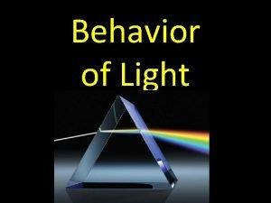 Behavior of Light Light Light is energy traveling