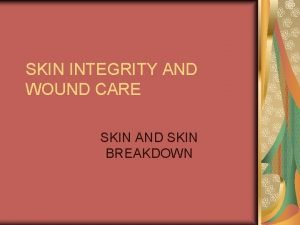 SKIN INTEGRITY AND WOUND CARE SKIN AND SKIN