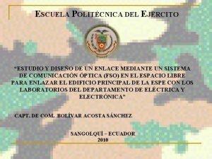 ESCUELA POLITCNICA DEL EJRCITO ESTUDIO Y DISEO DE