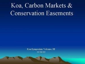 Koa Carbon Markets Conservation Easements Koa Symposium Volcano