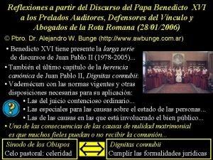 Reflexiones a partir del Discurso del Papa Benedicto