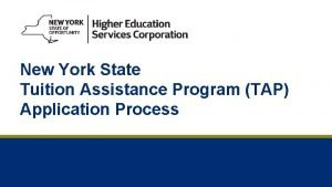 New York State Tuition Assistance Program TAP Application