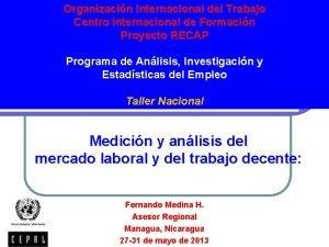 Organizacin Internacional del Trabajo Centro Internacional de Formacin