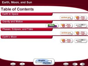 Earth Moon and Sun Table of Contents Earth