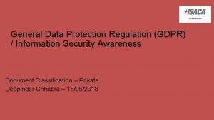 General Data Protection Regulation GDPR Information Security Awareness