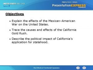 325 Section Chapter Section 1 Objectives Explain the