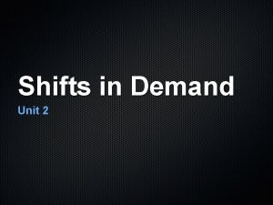 Shifts in Demand Unit 2 Demand Review What
