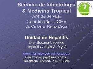 Servicio de Infectologia Medicina Tropical Jefe de Servicio