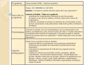 Programme Classe premire STMG Sciences de gestion Thme