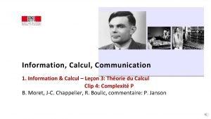 Information Calcul Communication 1 Information Calcul Leon 3