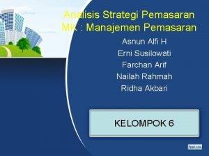 Analisis Strategi Pemasaran MK Manajemen Pemasaran Asnun Alfi