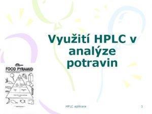 Vyuit HPLC v analze potravin HPLC aplikace 1