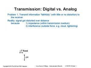 Transmission Digital vs Analog Problem 1 Transmit information