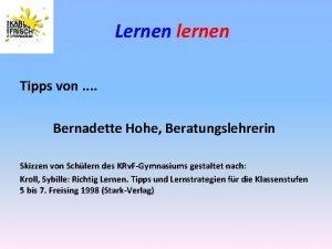Lernen lernen Tipps von Bernadette Hohe Beratungslehrerin Skizzen