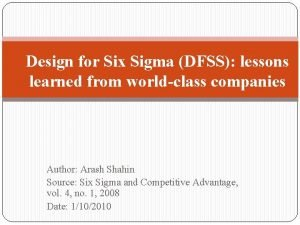 Design for Six Sigma DFSS lessons learned from