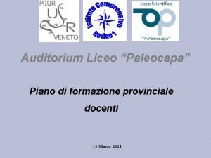 Auditorium Liceo Paleocapa Piano di formazione provinciale docenti