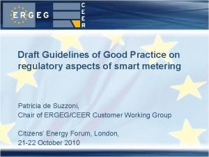 Draft Guidelines of Good Practice on regulatory aspects