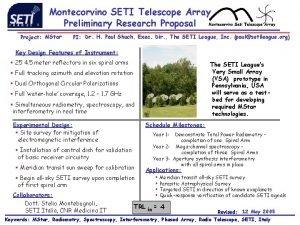 Montecorvino SETI Telescope Array Preliminary Research Proposal Project