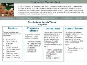 Educacin Comunitaria La DECAT Direccin de Educacin Comunitaria
