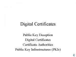 Digital Certificates Public Key Deception Digital Certificates Certificate