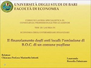 UNIVERSIT DEGLI STUDI DI BARI FACOLT DI ECONOMIA
