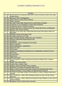 Canadian Auditing Standards CAS Description CAS 200 Overall