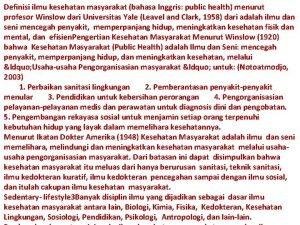Definisi ilmu kesehatan masyarakat bahasa Inggris public health