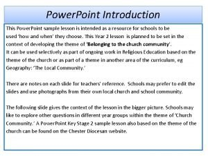 Power Point Introduction This Power Point sample lesson