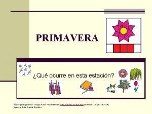 PRIMAVERA Qu ocurre en estacin Autor pictogramas Sergio