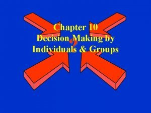 Chapter 10 Decision Making by Individuals Groups The
