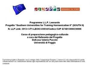 Programma L L P Leonardo Progetto Southern Universities