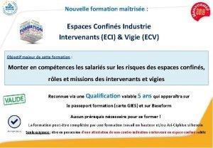 Nouvelle formation matrise Espaces Confins Industrie Intervenants ECI