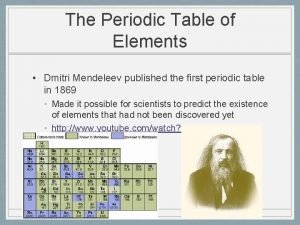 The Periodic Table of Elements Dmitri Mendeleev published
