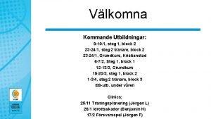 Vlkomna Kommande Utbildningar 9 101 steg 1 block
