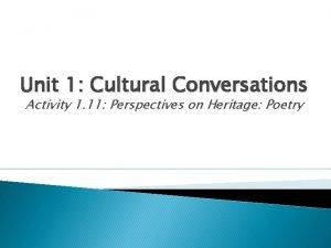 Unit 1 Cultural Conversations Activity 1 11 Perspectives