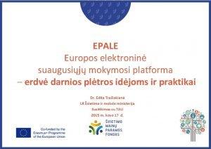 EPALE Europos elektronin suaugusij mokymosi platforma erdv darnios