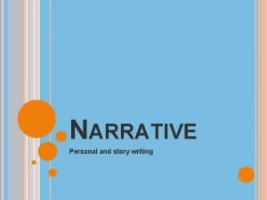 NARRATIVE Personal and story writing NARRATIVE WRITING A