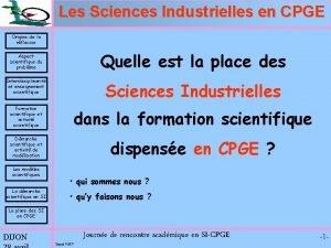 Les Sciences Industrielles en CPGE Origine de la