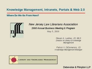 Knowledge Management Intranets Portals Web 2 0 Where