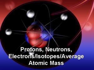 Protons Neutrons ElectronsIsotopesAverage Atomic Mass An Atom is