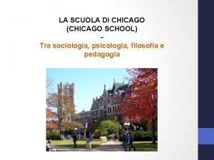 LA SCUOLA DI CHICAGO CHICAGO SCHOOL Tra sociologia