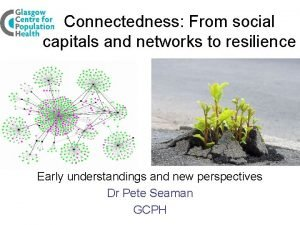 Connectedness From social capitals and networks to resilience