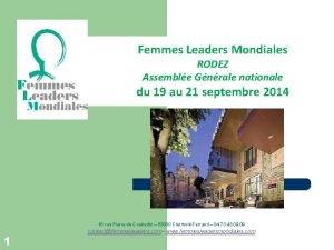 Femmes Leaders Mondiales RODEZ Assemble Gnrale nationale du