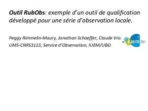 Outil Rub Obs exemple dun outil de qualification