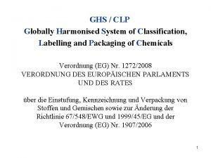 GHS CLP Globally Harmonised System of Classification Labelling